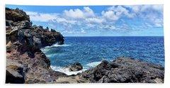 Northern Maui Rocky Coastline Bath Towel