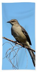 Northern Mockingbird Hand Towel by Bruce J Robinson