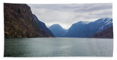 Norwegian Fjords Bath Towel by Suzanne Luft