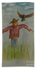 Bath Towel featuring the painting Not So Scary by Stacy C Bottoms