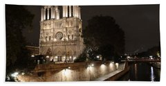 Notre Dame Cathedral From Petit Pont Bath Towel