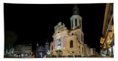 Notre-dame De Quebec Basilica-cathedral At Night Hand Towel