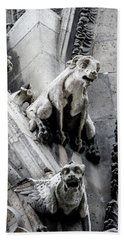 Bath Towel featuring the photograph Notre Dame Gargoyles by Jean Haynes