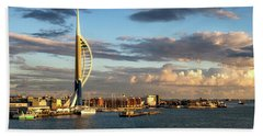 November - Portsmouth Harbour Hand Towel by Shirley Mitchell