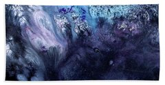 November Rain - Contemporary Blue Abstract Painting Bath Towel