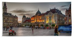 Novi Sad Liberty Square At Twilight Hand Towel