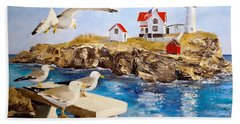 Bath Towel featuring the painting Nubble Light by Alan Lakin