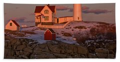 Nubble Light At Sunset Hand Towel