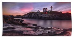 Nubble Lighthouse At Sunrise York Me Hand Towel by Betty Denise
