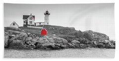 Nubble Lighthouse In Color And Black And White Bath Towel