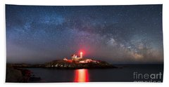 Nubble Lighthouse Milky Way Pano Bath Towel