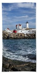 Nubble Lighthouse Winter Hand Towel