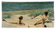Nude Bathers On The Beach Hand Towel