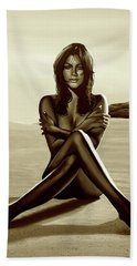 Nude Beach Beauty Sepia Hand Towel