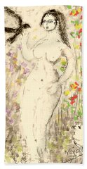 Nude Female With Bird Hand Towel