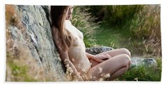 Nude Girl In The Nature Hand Towel