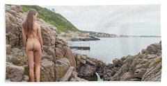 Nude Girl On Rocks Bath Towel