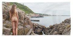 Nude Girl On Rocks Hand Towel