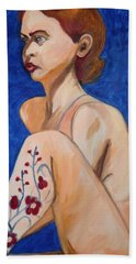 Nude With Flower Tatoo Hand Towel by Esther Newman-Cohen