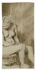 Nude Woman Seated On A Stool  Hand Towel