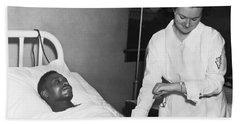 Nurse Taking Man's Pulse Hand Towel