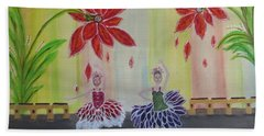 Bath Towel featuring the painting Nutcrackers Waltz Of The Flowers by Sharyn Winters