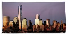 Nyc Skyline At Dusk Bath Towel