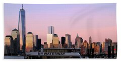 Nyc Skyline With Boat At Pier Hand Towel