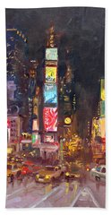 Nyc Times Square Hand Towel by Ylli Haruni
