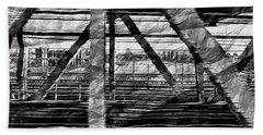 Bath Towel featuring the photograph Nyc Train Bridge Tracts by Joan Reese