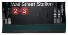 Nyc Wall Street Subway Entrance Bath Towel