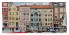Hand Towel featuring the photograph Nyhavn Waterfront In Copenhagen by Antony McAulay