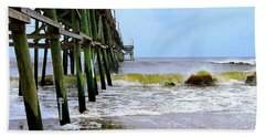 Hand Towel featuring the photograph Oak Island Pier Before H.matthew by Shelia Kempf
