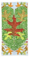 Hand Towel featuring the digital art Oak Leaf In A Heart by Lise Winne
