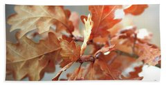 Oak Leaves In Autumn Bath Towel by Wilhelm Hufnagl