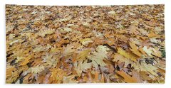 Oak Leaves On The Ground In Autumn Bath Towel by Jit Lim