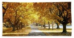 Oak Tree Avenue In Autumn Bath Towel
