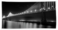 Bath Towel featuring the photograph Oakland Bay Bridge At Night by Darcy Michaelchuk