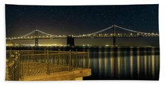 Oakland Bay Bridge By The Pier In San Francisco At Night Hand Towel