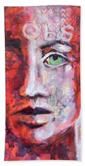 Hand Towel featuring the painting Observe by Mary Schiros