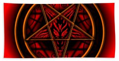 Occult Magick Symbol On Red By Pierre Blanchard Hand Towel