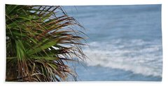 Ocean And Palm Leaves Hand Towel by Kathy Long