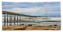 Ocean Beach Pier Fishing Airforce Hand Towel by Daniel Hebard