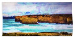 Bath Towel featuring the photograph Ocean Cliffs by Perry Webster