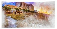 Ocean Drive Sunrise Watercolor Hand Towel