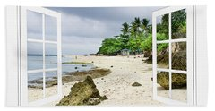 Ocean Front Beach Open White Picture Window Frame Canvas Art Vie Bath Towel