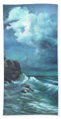 Seascape And Moonlight An Ocean Scene Bath Towel