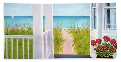 Ocean Porch View And Geraniums Hand Towel