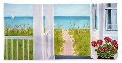 Ocean Porch View And Geraniums Bath Towel