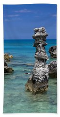 Ocean Rock Formations Bath Towel by Sally Weigand
